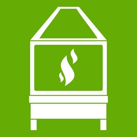 Smidsoven met het witte die pictogram van de vlambrand op groene vectorillustratie wordt geïsoleerd als achtergrond
