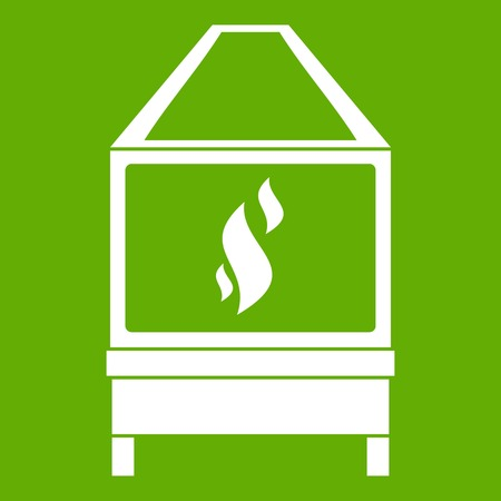 Blacksmith oven with flame fire white icon isolated on green background vector illustration