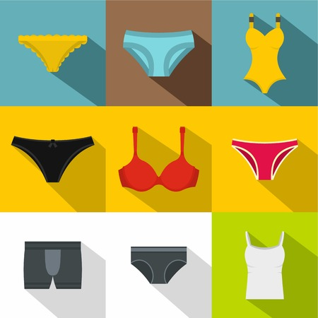 Lingerie icon set. Flat style set of 9 lingerie vector icons for web design
