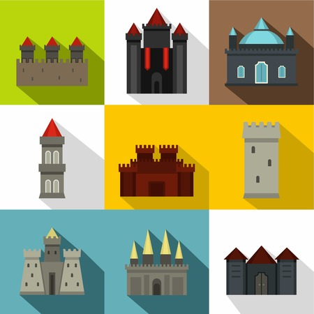Castles icon set. Flat style set of 9 castles vector icons for web design