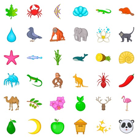 Wild nature icons set. Cartoon style of 36 wild nature vector icons for web isolated on white background
