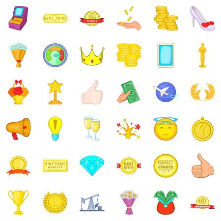 Winning icons set. Cartoon style of 36 winning vector icons for web isolated on white background Illustration