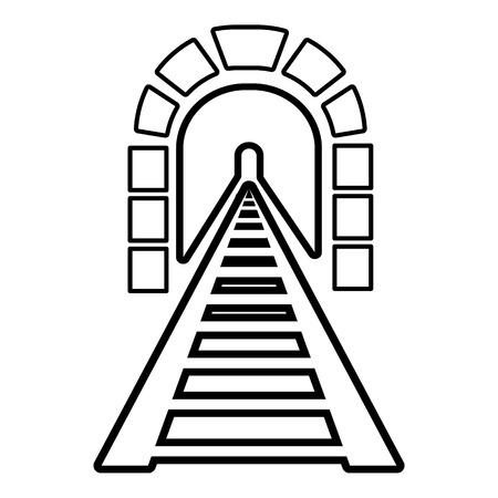 Cone do túnel ferroviário. Ilustração de contorno do ícone de vetor de túnel ferroviário para web design isolado no fundo branco Foto de archivo - 84988730