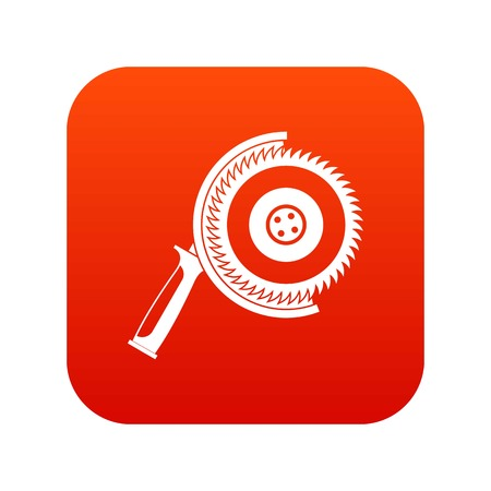 Circle saw icon digital red for any design isolated on white vector illustration Illustration