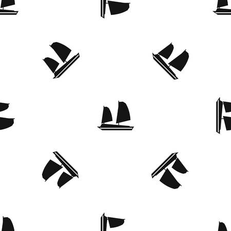 Vietnamese junk boat pattern repeat seamless in black color for any design. Vector geometric illustration