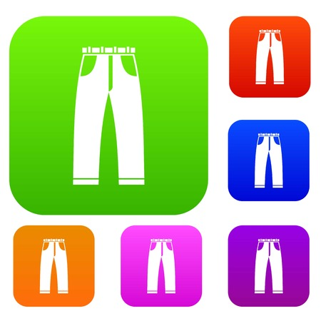 Jeans set icon in different colors isolated vector illustration. Premium collection