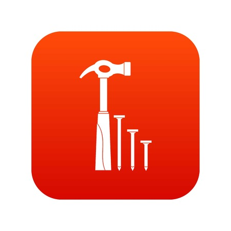 claw hammer: Hammer and nails icon digital red for any design isolated on white vector illustration