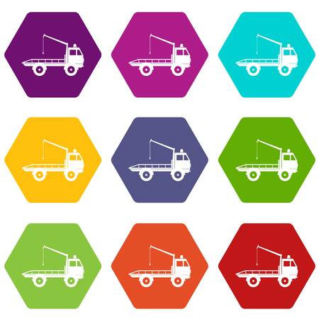 evacuating: Car towing truck icon set many color hexahedron isolated on white vector illustration
