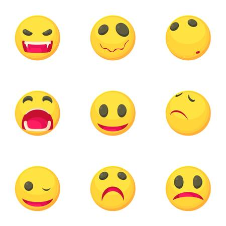 Funny emoji icons set. Cartoon set of 9 funny emoji vector icons for web isolated on white background