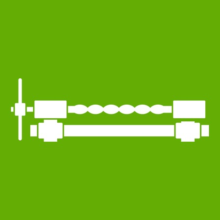 vice grip: Blacksmiths clamp icon white isolated on green background. Vector illustration