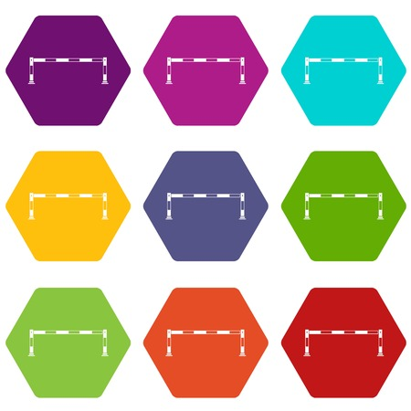 Barrier icon set many color hexahedron isolated on white vector illustration