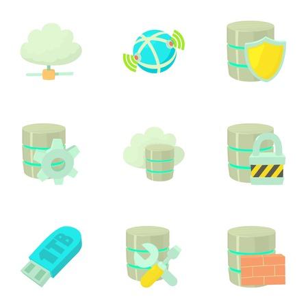 Safe storage icons set. Cartoon set of 9 safe storage vector icons for web isolated on white background