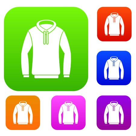 Hoody set icon in different colors isolated vector illustration. Premium collection