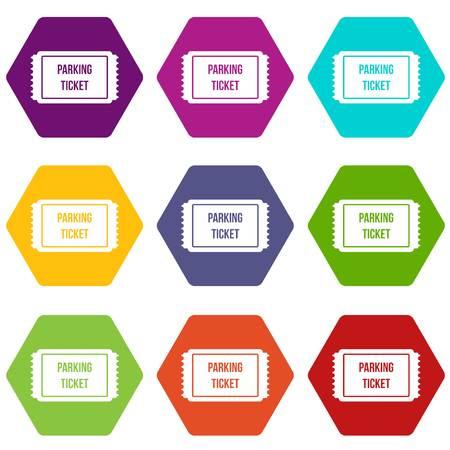 set di icone di parcheggio di parcheggio molti colori . Illustrazione vettoriale isolato su bianco illustrazione