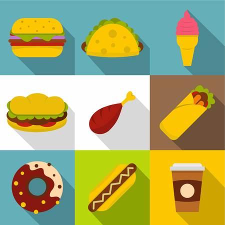 Street food icon set, flat style vector illustration.