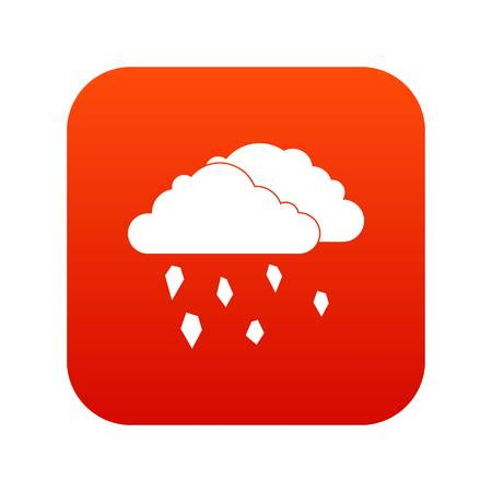 Clouds and hail icon digital red vector illustration.