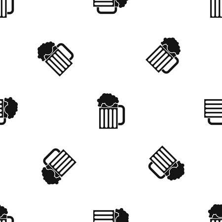 Beer mug pattern seamless black vector illustration. Illustration