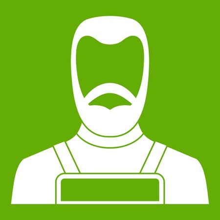 Blacksmith icon white isolated on green background. Vector illustration