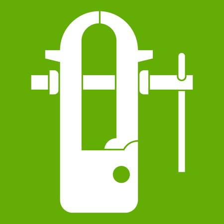 Blacksmiths vice icon white isolated on green background. Vector illustration