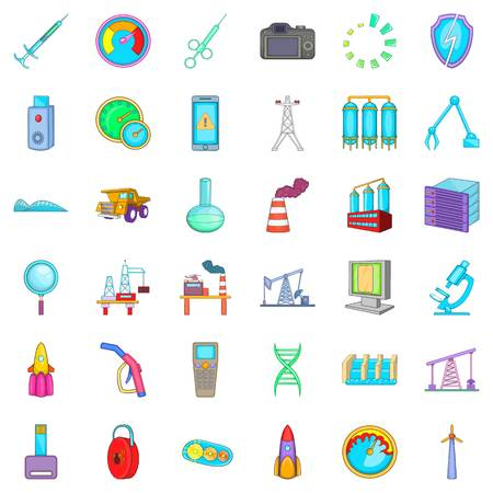 Truck icons set. Cartoon style of 36 truck vector icons for web isolated on white background Vector Illustration