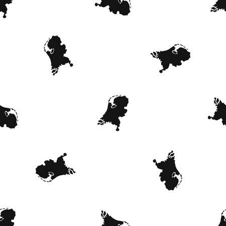 Holland kaartpatroon herhaal naadloos in zwarte kleur voor elk ontwerp. Vector geometrische illustratie Stock Illustratie