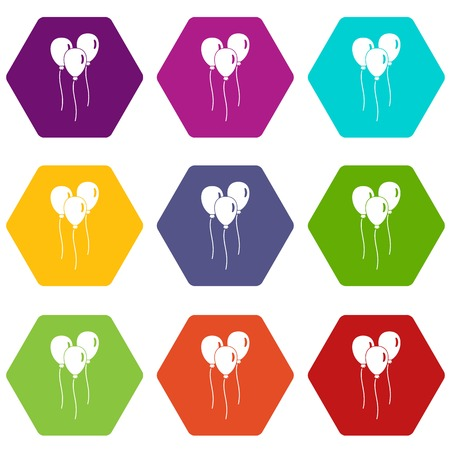 Balloons icon set many color hexahedron isolated on white vector illustration Illustration