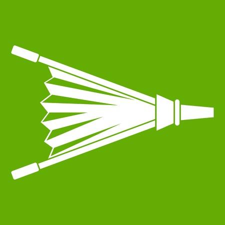 Vuur balgen pictogram wit geïsoleerd op groene achtergrond. Vector illustratie