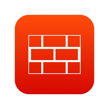 Concrete block wall icon digital red for any design isolated on white vector illustration