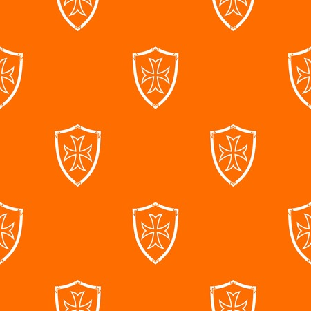 combatant: Protective shield pattern repeat seamless in orange color for any design. Vector geometric illustration Illustration
