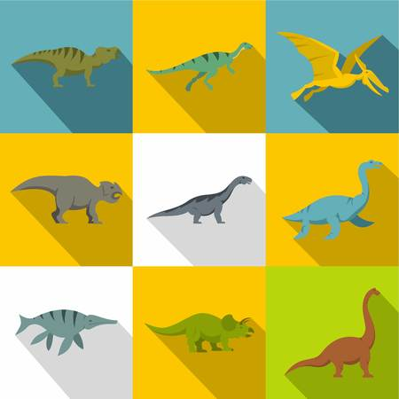 Types of dinosaur icon set. Flat style set of 9 types of dinosaur vector icons for web design
