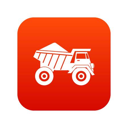 excavation: Dump truck with sand icon digital red for any design isolated on white vector illustration
