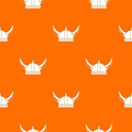 Viking helmet pattern repeat seamless in orange color for any design. Vector geometric illustration