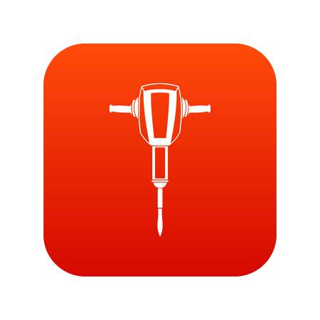 jack tar: Pneumatic plugger hammer icon digital red for any design isolated on white vector illustration