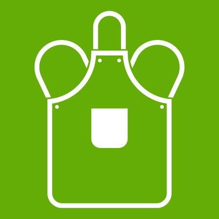 Blacksmiths apron icon white isolated on green background. Vector illustration Illustration