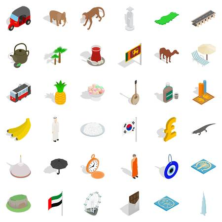 Japan icons set. Isometric style of 36 japan vector icons for web isolated on white background