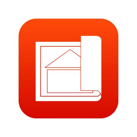 Building plan icon digital red for any design isolated on white vector illustration