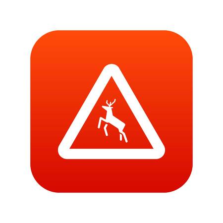 danger ahead: Deer traffic warning sign icon digital red for any design isolated on white vector illustration