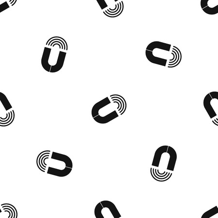 Horseshoe magnet pattern repeat seamless in black color for any design. Vector geometric illustration