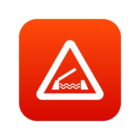 Lifting bridge warning sign icon digital red for any design isolated on white vector illustration Illustration