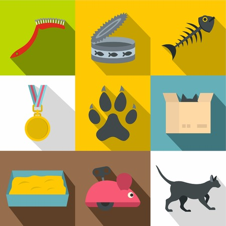 Cat house icon set. Flat style set of 9 cat house vector icons for web design Illustration