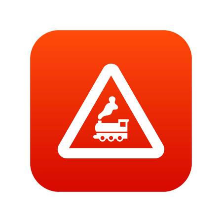 Warning sign railway crossing without barrier icon digital red for any design isolated on white vector illustration