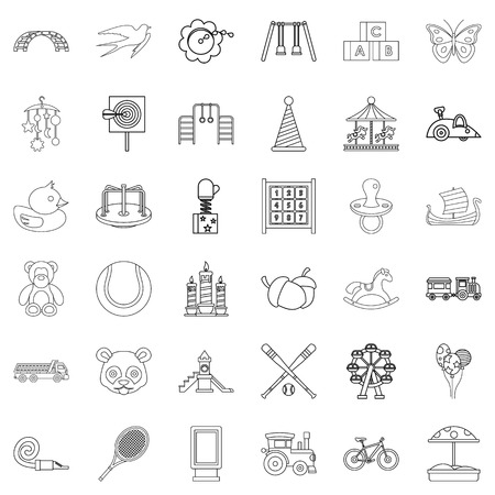 numeric: Amusing icons set. Outline style of 36 amusing vector icons for web isolated on white background
