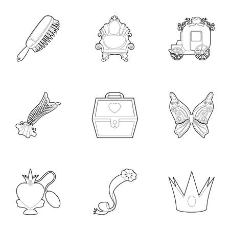 awkward: Little queen icons set. Outline set of 9 little queen vector icons for web isolated on white background
