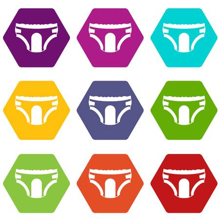 incontinence: Adult diapers icon set many color hexahedron isolated on white vector illustration Illustration