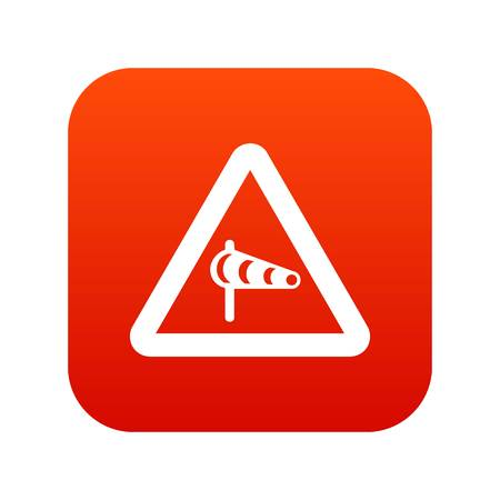 Sign warning about cross wind from the left icon digital red for any design isolated on white vector illustration