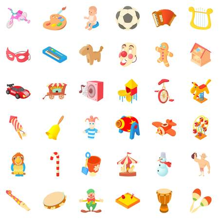 Funny icons set. Cartoon style of 36 funny vector icons for web isolated on white background