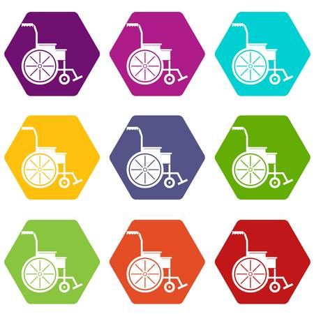 invalid: Wheelchair icon set many color hexahedron isolated on white vector illustration