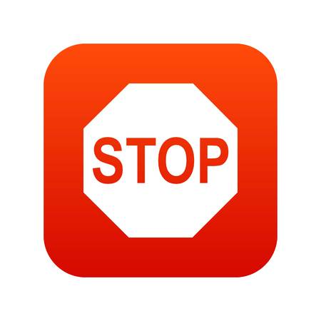 danger ahead: Stop sign icon digital red for any design isolated on white vector illustration Illustration