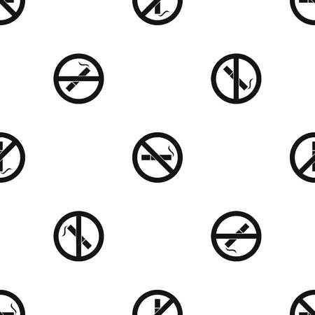 pernicious habit: No smoking sign pattern repeat seamless in black color for any design. Vector geometric illustration