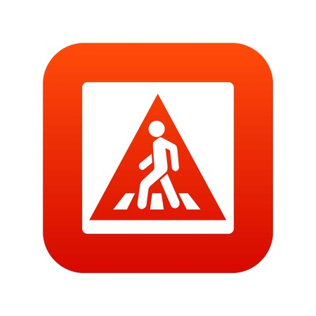 Pedestrian road sign icon digital red for any design isolated on white vector illustration